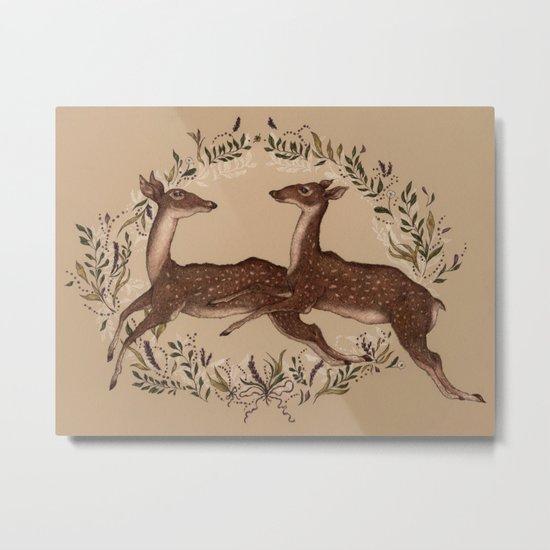 Jumping Deer Metal Print
