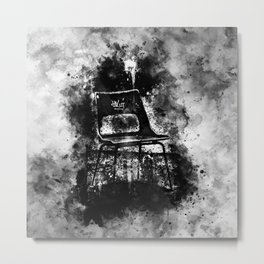 chair at lost place splatter watercolor black white Metal Print