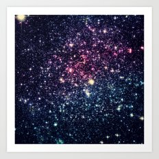 Galaxy Stars : Subtle Purple Mauve Pink Teal Art Print