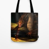 smaug Tote Bags featuring Smaug by wolfanita