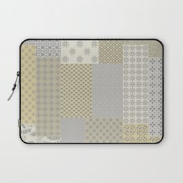 Modern Farmhouse Patchwork Quilt in Gray Marigold and Oatmeal Laptop Sleeve