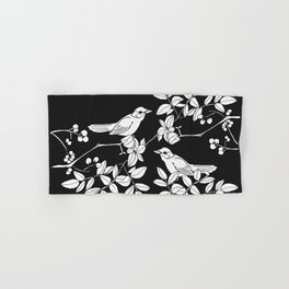 Birds on Branches, Drawing (White on Black) Hand & Bath Towel