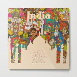 India cultural symbols patterns poster Metal Print