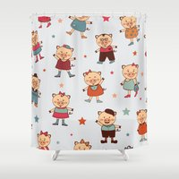 pigs Shower Curtains featuring Pigs pattern by olillia