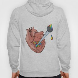 Anatomic human's heart with artist brush and rainbow splashes. Love for art con Hoody