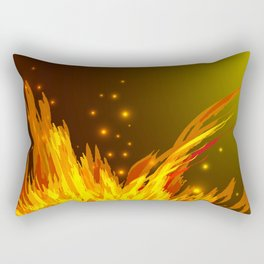 A bonfire with tongues of flame and sparks for the design of summer night ideas. For postcards and f Rectangular Pillow