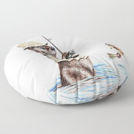 """ Natures Fisherman "" fishing river otter with trout Floor Pillow"