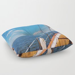 Sweet Sailing - Sailboat on the Chesapeake Bay in Annapolis, Maryland Floor Pillow