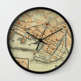 Vintage Rijeka Croatia Map (1911) Wall Clock