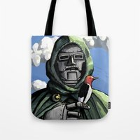 doom Tote Bags featuring Doom by David Comito
