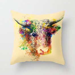 Hand drawn bull, cow, bison, buffalo head face portrait with horns. Colorful cattle painting sketch Throw Pillow