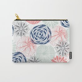Floral Pattern in Coral Red, Navy Blue and Aqua Carry-All Pouch