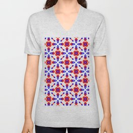 Red & Blue Geometric Pattern Unisex V-Neck