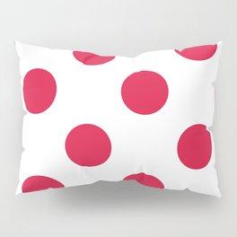 Large Polka Dots - Crimson Red on White Pillow Sham