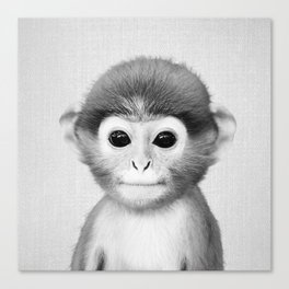 Baby Monkey - Black & White Canvas Print
