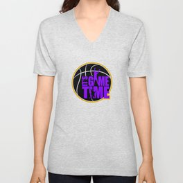 It's Game Time - Purple & Gold Unisex V-Neck