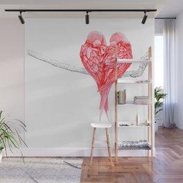 Red Heart Birds Love Wall Mural