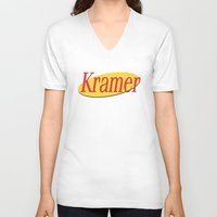 seinfeld V-neck T-shirts featuring Kramer  - Seinfeld by Uhm.