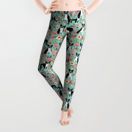 Floral Boston Terrier cute flowers spring bouquet love valentines day black and white mint dogs Leggings