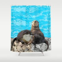 otters Shower Curtains featuring Where the River Meets the Sea Otters by Distortion Art