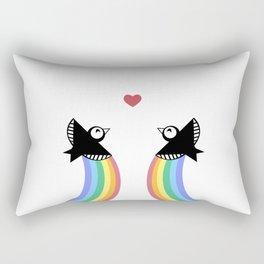 Blackbirds with Rainbows Rectangular Pillow