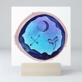 Blue Ink Trio Design Mini Art Print