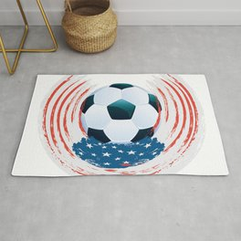 Football Ball and red, white Strokes Rug