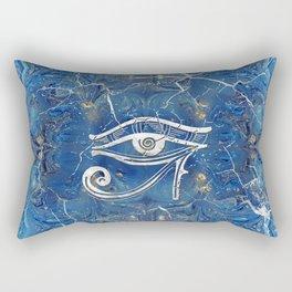 Silver Egyptian Eye of Horus  on blue marble Rectangular Pillow