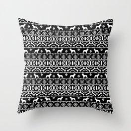 Boston Terrier fair isle dog pattern silhouette christmas sweater black and white Throw Pillow
