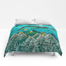 FLOATING FOREST BLUE Comforters