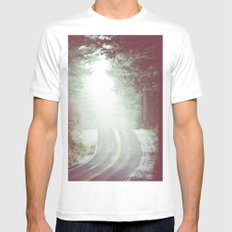 Fog Forest - Green Wanderlust Road Trip in the Mountains Mens Fitted Tee MEDIUM White