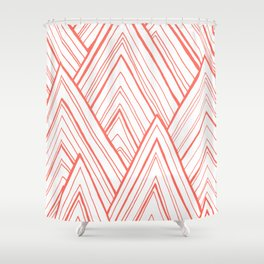 Stripe Mountains - Living Coral Shower Curtain