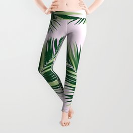 palm fronds on pink background Leggings