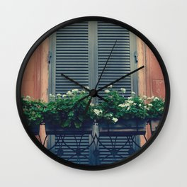 Black Windowboxes Overflowing with White Flowers on A Balcony in Rome Wall Clock