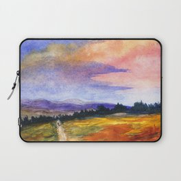 The Good Life, Landscape Watercolor Painting Laptop Sleeve