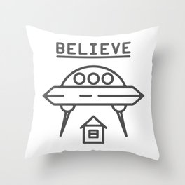 UFO Flying saucer space alien over the house - style Fashion Modern Design Print! Throw Pillow