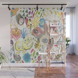 maximalism maximalist pastel pencil surreal fantasy Wall Mural
