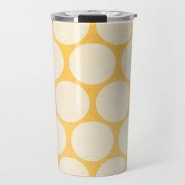 yellow and white polka dots Travel Mug