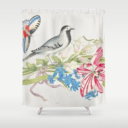 The 18th century  of a gray bird on a branch with tulip snapdragons and forget-me-nots with butterfl Shower Curtain