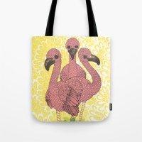 flamingos Tote Bags featuring Flamingos  by Amanda James