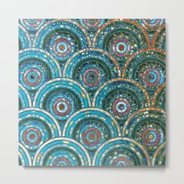 Aqua Teal Blue and Green Sparkling Faux Glitter Circles and Dots Metal Print