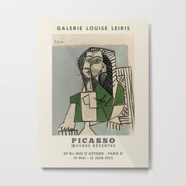Pablo Picasso. Exhibition poster for Galerie LOUISE LEIRIS in Paris, 1953. Metal Print
