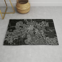 Sacramento Black Map Rug