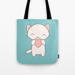 Kawaii Cute Cat With Hearts Tote Bag