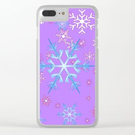 LILAC PURPLE WINTER SNOWFLAKES Clear iPhone Case