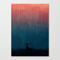 shower Canvas Prints featuring Meteor rain by Picomodi