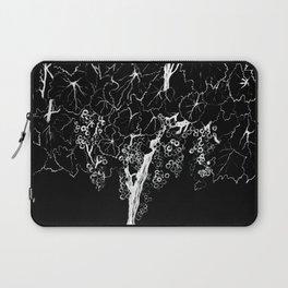 White ink, black cardboard. Vine trees. Grapes. White ink Laptop Sleeve