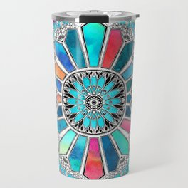 Iridescent Watercolor Brights on White Travel Mug