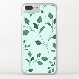 Light Cyan Soft Mint Green Leaves Greenery Pattern Modern Décor Clear iPhone Case