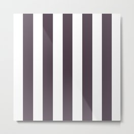 Purple taupe - solid color - white vertical lines pattern Metal Print